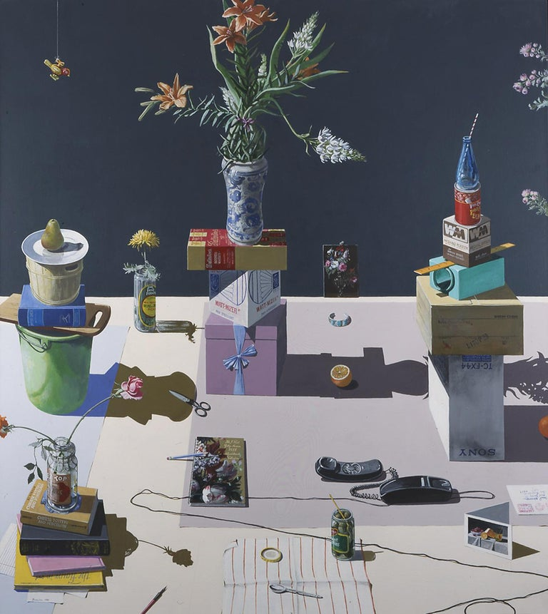 Dutch Still Life Stacked Objects & Telephone, California Artist Paul Wonner 1983 - Painting by Paul Wonner