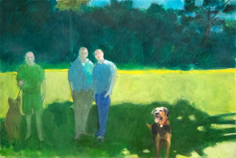 """A painting by Paul Wonner. """"Park with Figures and Dogs"""" is an acrylic and pencil on paper executed in palette primarily of greens, blues and yellows and depicting figures and dogs in the park by Bay Area Figurative Artist Paul Wonner. Signed lower"""