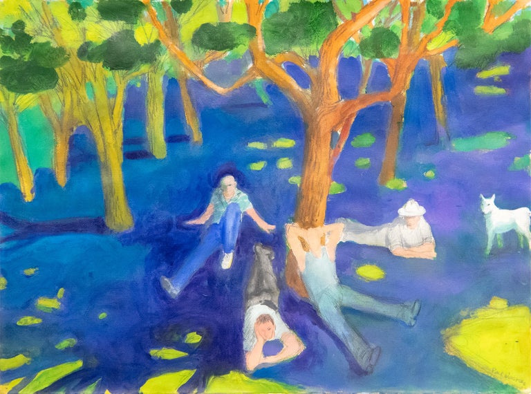 "A painting by Paul Wonner. ""Park with Figures Around a Tree"" is an acrylic and pencil on paper painting executed in a deep and lush palette primarily of greens, blues and yellows and depicting four figures and a dog sitting under a tree by Bay Area"