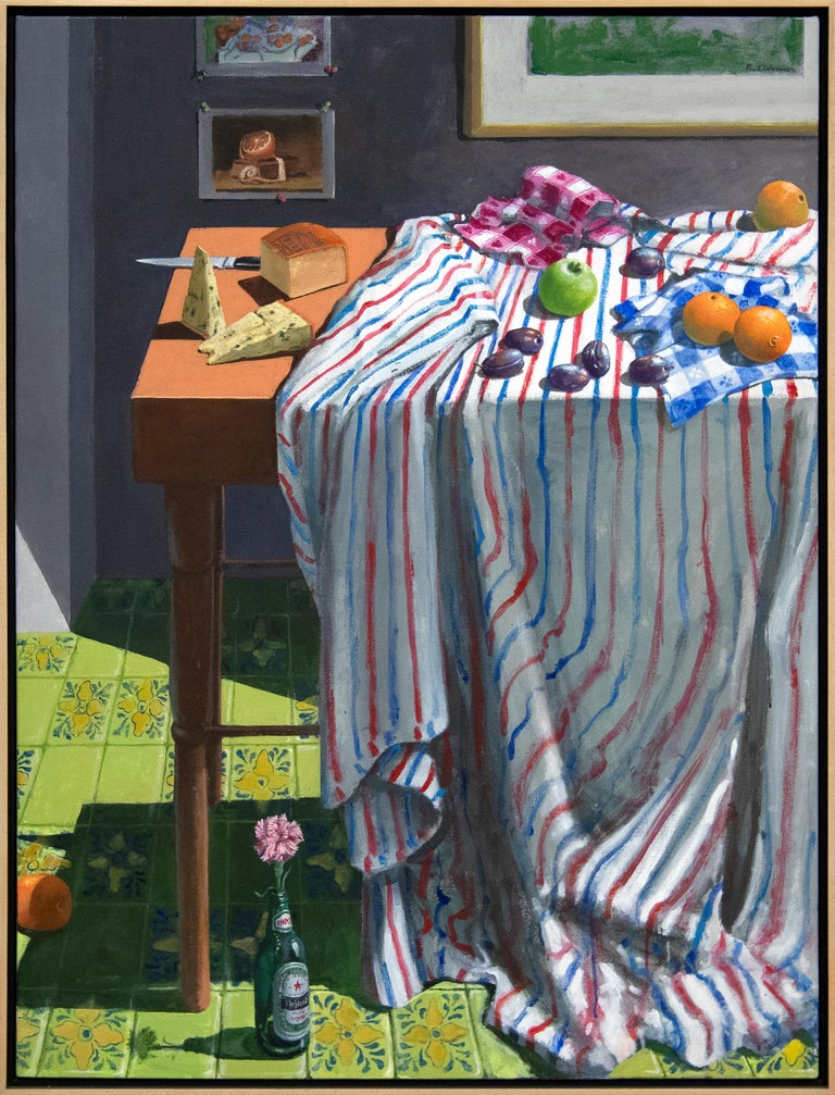 Striped Cloth with Fruit and Cheese - Painting by Paul Wonner