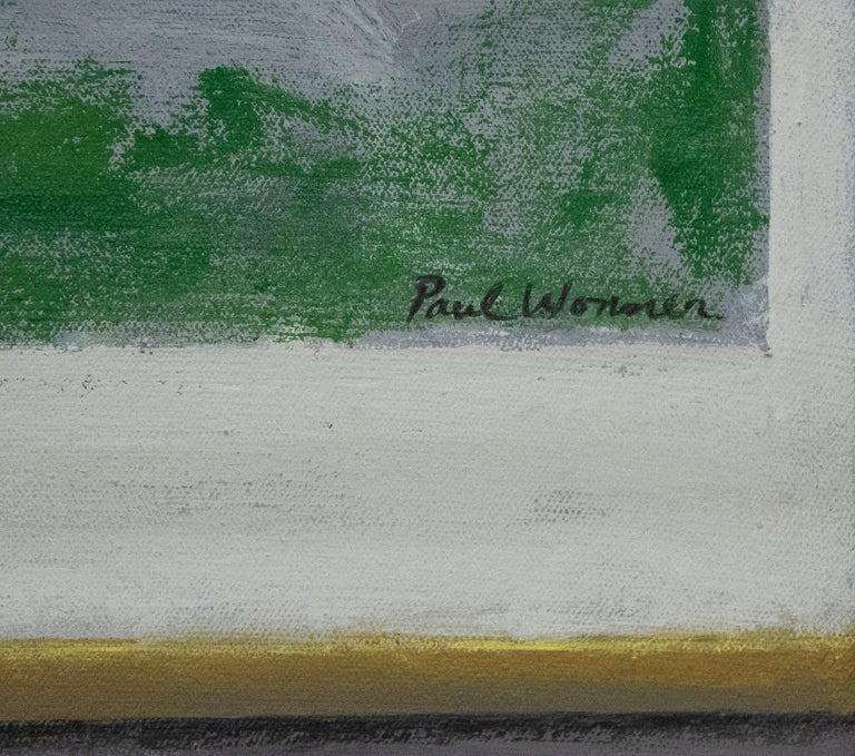 Striped Cloth with Fruit and Cheese - Abstract Expressionist Painting by Paul Wonner