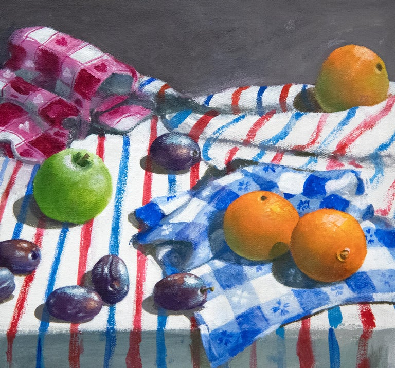 Striped Cloth with Fruit and Cheese For Sale 4