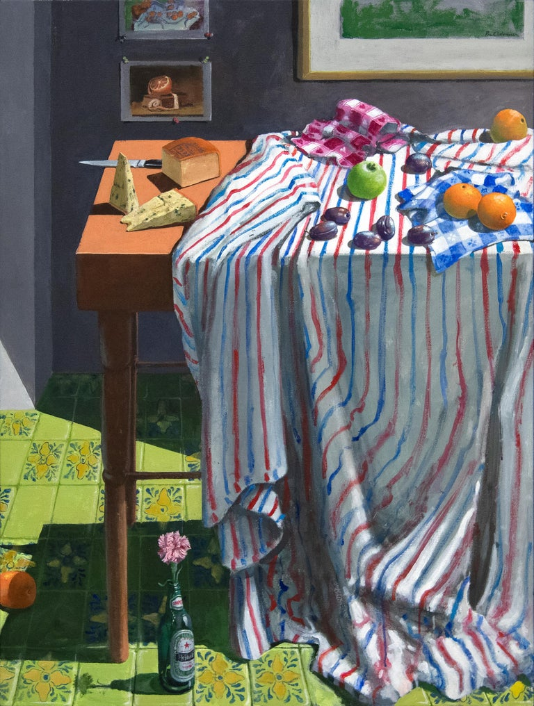 """A painting by Paul Wonner. """"Striped Cloth with Fruit and Cheese"""" is an acrylic on canvas, still life painting depicting an interior scene withstriped table cloth on a table with fruit and cheese by Bay Area Figurative and Abstract Expressionist"""