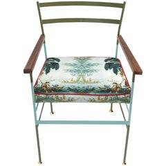 Paul Wood Chair in Iron and Printed Fabric Made in Italy