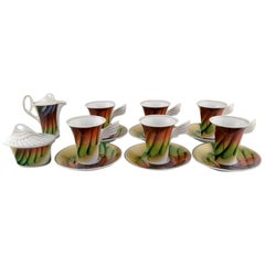 Paul Wunderlich for Rosenthal, Six Mythos Coffee Cups with Saucers, 1980s-1990s
