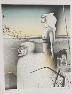 """Paul Wunderlich, Original lithograph, hand signed, """"Paar mit Hund"""""""