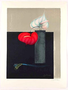 Red and White Anthurium - Original Lithograph by Paul Wunderlich - 1999