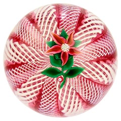 Paul Ysart Poinsettia on a Pink and White Latticinio Ground Glass Paperweight