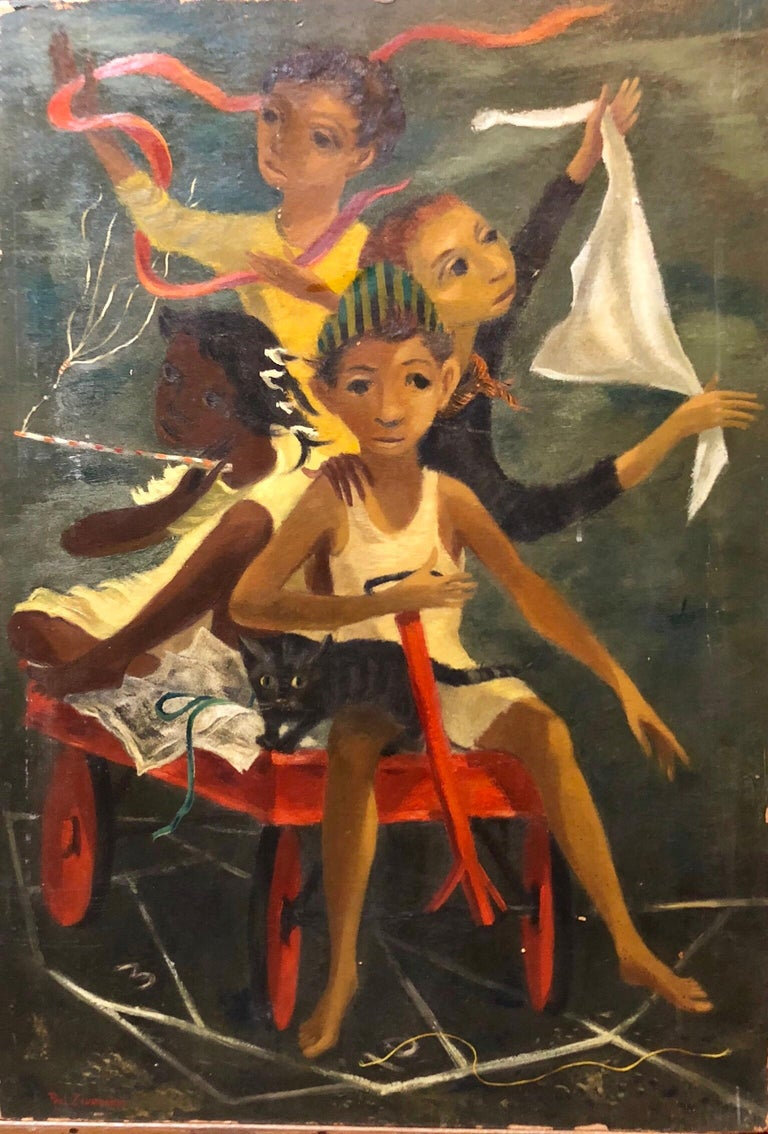 Modernist Oil Painting Social Realist Kids and Cat in Red Wagon WPA Style - Black Still-Life Painting by Paul Zimmerman