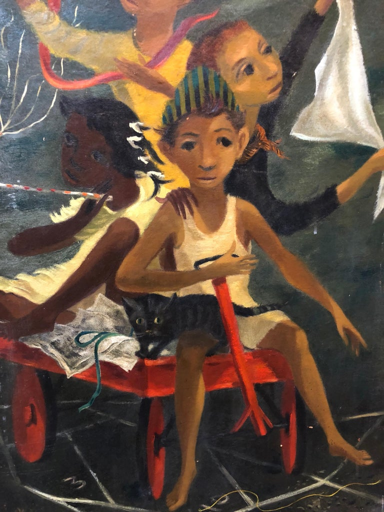 Oil on artist's board, 20th century, signed Paul Zimmerman Reminiscent of the Mid Century Social Realist and WPA works of Ben Shahn this captures a group of tenement children of mixed races, African American, etc. all playing together in a wagon
