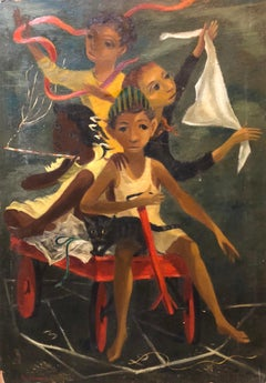 Modernist Oil Painting Social Realist Kids and Cat in Red Wagon WPA Style