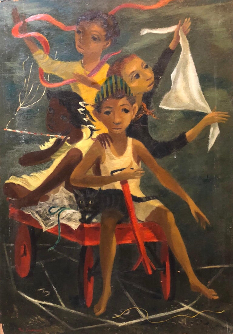 Paul Zimmerman Still-Life Painting - Modernist Oil Painting Social Realist Kids and Cat in Red Wagon WPA Style