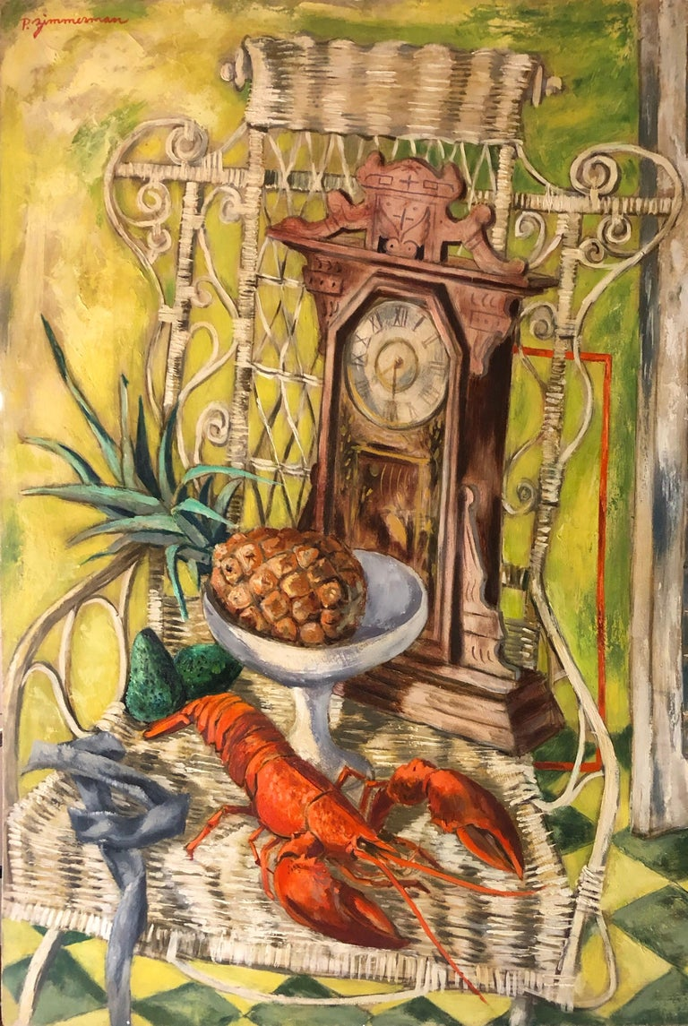 Modernist Oil Painting Still Life Tableaux with Lobster, Pineapple and Clock - Brown Figurative Painting by Paul Zimmerman