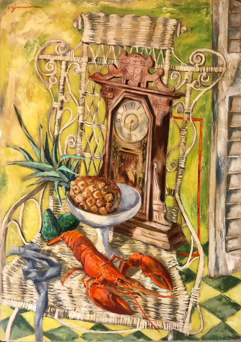 Paul Zimmerman Figurative Painting - Modernist Oil Painting Still Life Tableaux with Lobster, Pineapple and Clock