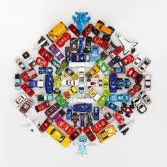 Car Mandala, Toy Cars, Kids Room Decor, Limited Edition, Blue, Red