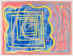 0103: contemporary abstract gestural painting w/ yellow, pink & blue lines