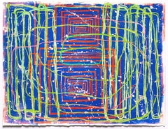 0105: contemporary abstract gestural painting w/ green, red & pink lines on blue
