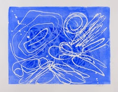 Clash II: abstract expressionism blue & white painting/drawing on paper, framed