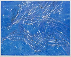 Current II -- contemporary abstract blue & white gestural painting of sea life