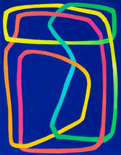 Duality -- contemporary abstract painting on blue w/ pink, green, yellow lines