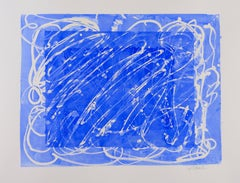 Gilded: abstract expressionist blue & white painting/drawing on paper, framed