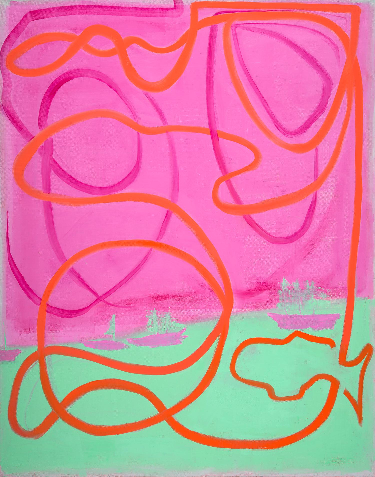 Havana to Key West: contemporary abstract gestural painting w/ pink lines, green