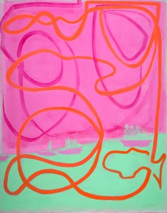 Havana to Key West -- contemporary abstract gestural painting with pink & green