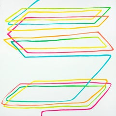 Parallelogram - contemporary abstract painting w/ colorful lines on white ground