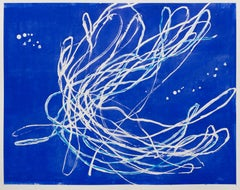 Reef Dancer -- contemporary abstract gestural painting on blue with white lines