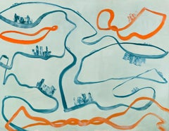 Sound of Sharks -- large contemporary abstract gestural painting, orange & blue