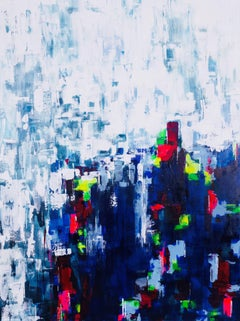 Paula Cherry, Albury Bluebells, Original Painting, Abstract Art, Affordable Art