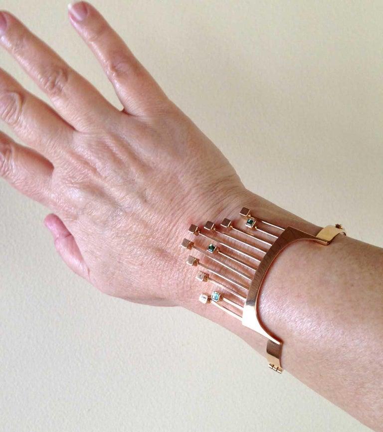 Paula Haivaoja for Kaunis Koru Tourmaline Gold Cuff Bracelet For Sale 1