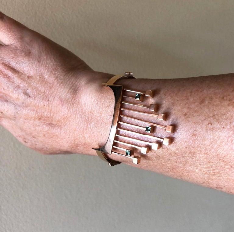 Paula Haivaoja for Kaunis Koru Tourmaline Gold Cuff Bracelet For Sale 2