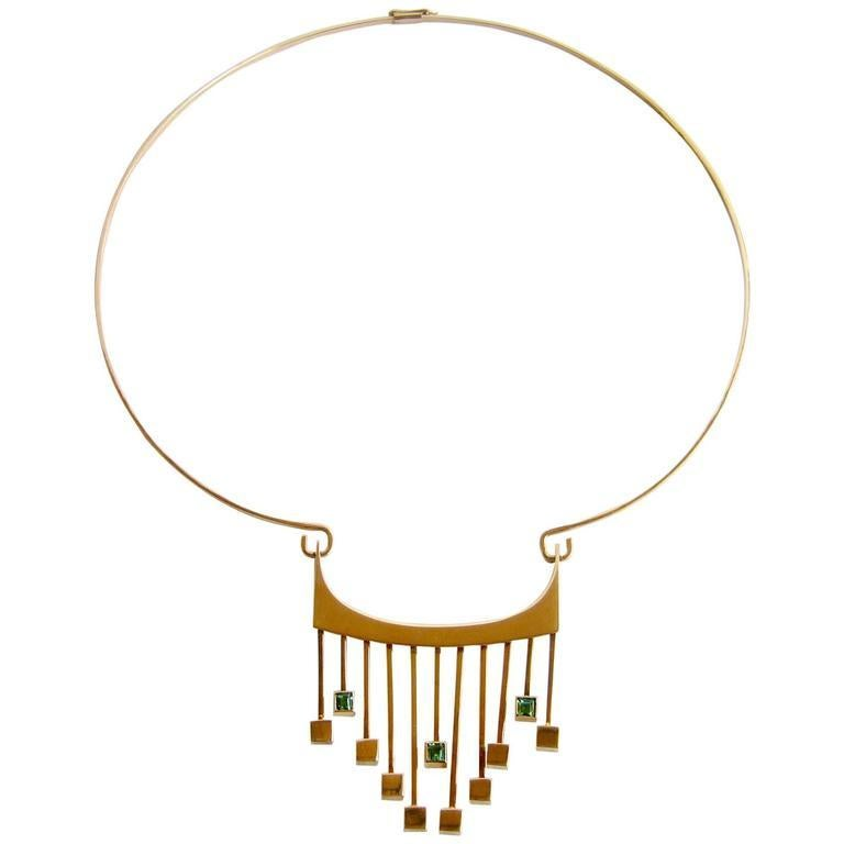 Paula HaIvaoja for Kaunis Koru Tourmaline Gold Necklace In Excellent Condition For Sale In Los Angeles, CA