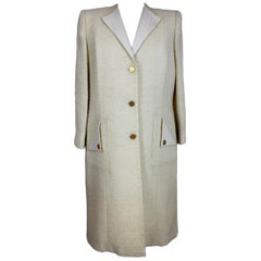 Paula Klein White Wool Matelasse Long Evening Coat 1980s