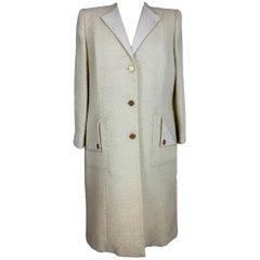 Paula Klein White Wool Matelasse Long Evening Coat 1980s