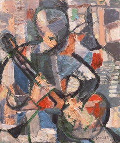 'Man Playing a Banjo', American Mid-Century Cubist-Derived Figural Oil, Fifties