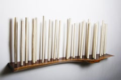 Sanctuary 54 With Walnut - porcelain birch trees on wooden shelf, wall sculpture