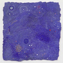 Gale- Abstract intricate Blue Dots painting on paper