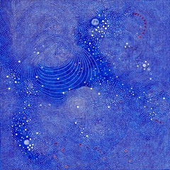 Kinosis II - Abstract Blue Intricate Dot Painting on Wood Panel