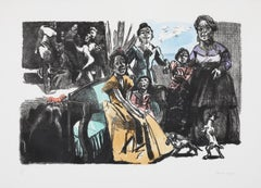 Self-portrait with Grandchildren -- Lithograph, Hand-colouring by Paula Rego