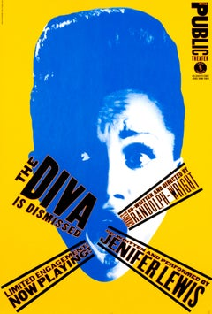 """The Diva is Dismissed - Public Theater"" Original Vintage Theater Poster"