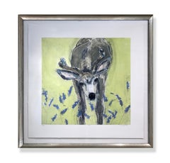 Hello 7/20 (deer, whimsy, curious, celadon, gray, blue, black, white)