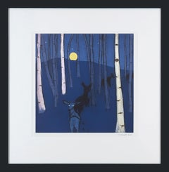 Moonrise 13/20 (night series, nocturne, aspen grove, deer, who's there?, blues)