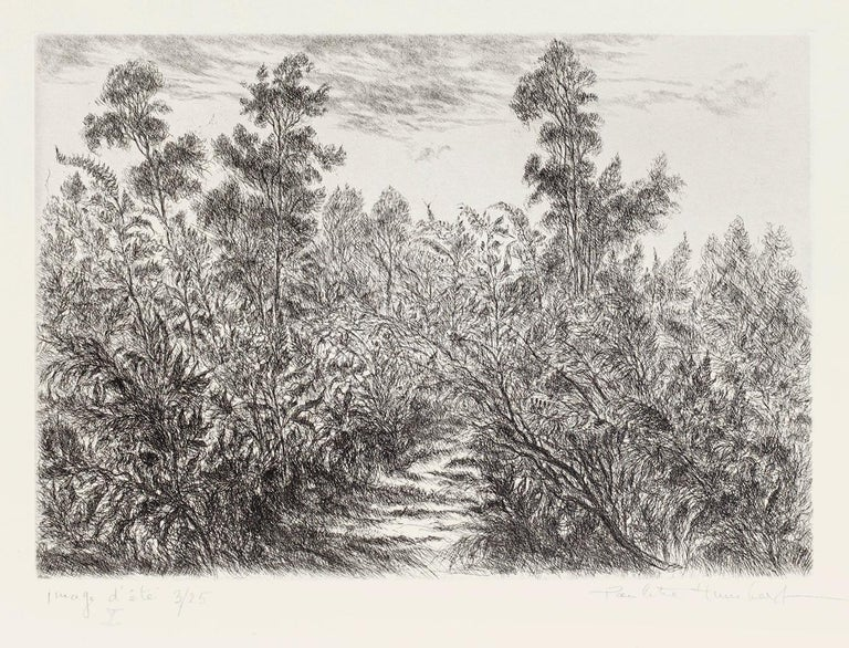 Landscape is an original etching on paper realized by Paulette Humbert. Hand-signed on the lower right in pencil. Numbered, edition of 3/25 prints. on the lower left in pencil.  The state of preservation is very good. Image Dimensions: 20.5 x 29.5