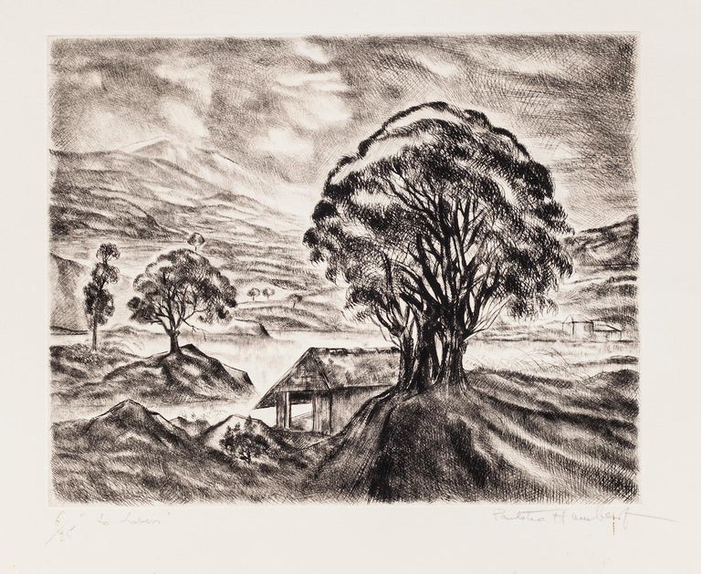 Landscape is an original etching artwork realized by Paulette Humbert in the mid-20th Century.  Hand-signed on the lower right.  Numbered, edition 6/25.  Good condition except for a few stains.   Light, and brilliant landscape with the poetical