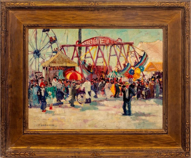 """Paulette Victorine J. Van Roekens Landscape Painting - """"Venetian Swings"""""""