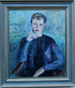 Lady in Blue - British 50's Impressionist oil painting portrait female artist