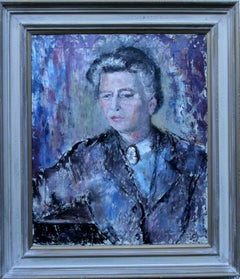 Lady in Purple - British 50's Impressionist oil painting portrait female artist