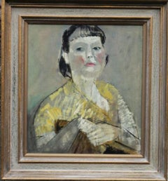 Lady in Yellow Portrait - British 50's Impressionist oil painting female artist